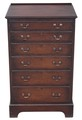 Antique tall slim Georgian revival oak Wellington chest of drawers