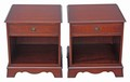 Antique Bevan Funnell Reprodux mahogany pair of bedside tables lamp