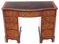 Antique quality Maple & Co serpentine burr walnut leather desk writing table