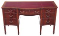 Antique Quality Edwardian serpentine mahogany leather desk writing table