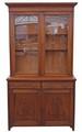 Antique large Edwardian walnut glazed bookcase display cabinet Art Nouveau