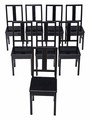 Antique revival set of 8 black ebonised Chinese dining chairs