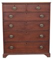Antique large Georgian 19C oak chest of 2 over 4 drawers