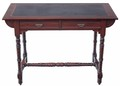 Antique late Victorian walnut desk writing table 2 drawer dressing