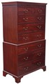 Antique large Georgian C1800 mahogany tallboy chest on chest of drawers