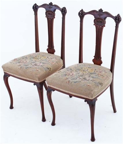 Antique pair of J. Shoolbred mahogany hall side bedroom chairs 097e.jpg 2/28/2012