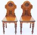 Antique pair Victorian 19C Gothic Aesthetic oak hall chairs side 414e.jpeg
