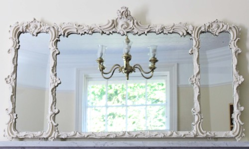 Antique large 19th Century Victorian wall mirror overmantle
