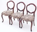 Antique set of 3 Victorian 19C mahogany dining chairs balloon back