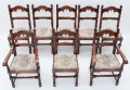 Antique set of 8 Bevan Funnell Reprodux oak dining chairs