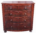 Antique 19C Victorian mahogany bow front chest of drawers large