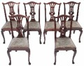Antique set of 6 mahogany Georgian Chippendale dining chairs