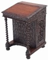 Antique Anglo Indian carved davenport writing table desk