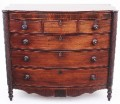 Antique large 19C Georgian mahogany chest of drawers bow front