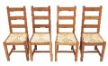Set of 4 antique oak dining chairs rush seats
