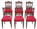 Antique set of 6 19C late Victorian walnut dining chairs