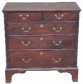 Antique 18C 18th Century Georgian oak chest of 5 drawers