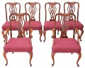 Antique set of 6 (4+2) Chippendale walnut dining chairs