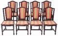 Antique set of 17 16 12 10 8 Edwardian mahogany dining chairs Zoffany fabric