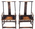 Antique pair of Chinese elm hall side occasional T chairs dining