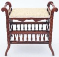 Antique 19C Victorian adjustable stool mahogany piano music dressing table