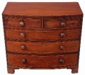 Antique Georgian Regency 19C inlaid mahogany bow front chest of drawers