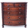 Antique large Georgian Regency 19C mahogany bow front chest of drawers Trafalgar