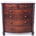 Antique large Georgian Regency 19C mahogany bow front chest of drawers Trafalgar