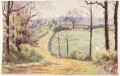 Antique 19C Victorian watercolour landscape painting Great Brickhill Bucks.