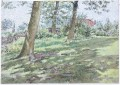Antique 19C Victorian watercolour landscape painting Highgate Woods 1865