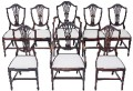 Antique set of 8 (6+2) Georgian Hepplewhite revival mahogany dining chairs