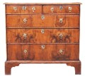 Antique Georgian 18C oak and burr walnut chest of drawers