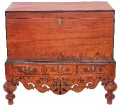 Antique Eastern inlaid mahogany coffer mule chest ottoman log basket