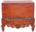 Antique Eastern inlaid mahogany coffer mule chest ottoman log basket