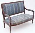 Antique quality French early 20C carved mahogany sofa settee chaise