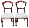 Antique pair of Victorian walnut mahogany dining hall side bedroom chairs