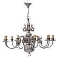 Antique large Flemish 10 lamp silver brass bronze chandelier FREE DELIVERY