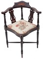 Antique Edwardian inlaid mahogany corner chair bedroom side hall