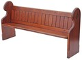 Antique Victorian 19th C pitch pine church pew settle seat chair bench oak