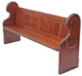 Antique Victorian 19C pitch pine church pew settle seat chair bench oak