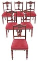 Antique set of 6 Edwardian walnut dining chairs Art Nouveau