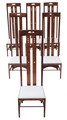 Antique set of 6 solid oak Mackintosh style dining chairs designer