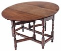 Antique Georgian revival country oak dining table gate leg drop leaf