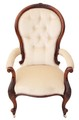 Antique 19C Victorian carved walnut button back armchair chair spoon back