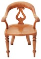 Antique 19C Victorian satin birch armchair desk chair hall side