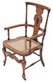 Antique Victorian Edwardian inlaid oak beech cane armchair chair