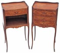 Antique pair of French kingwood veneered bedside cupboard tables cabinets