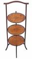 Antique pretty 3 tier Edwardian cake display stand walnut mahogany