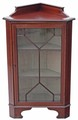 Antique Edwardian inlaid mahogany walnut corner cupboard display cabinet