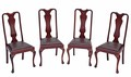 Antique set of Edwardian mahogany walnut dining chairs Queen Anne Revival